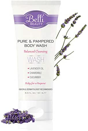 Belli Pure and Pampered Body Wash – Balanced Cleansing with Essential Oil of Lavender – OB/GYN and Dermatologist Recommended – 6.5 oz.