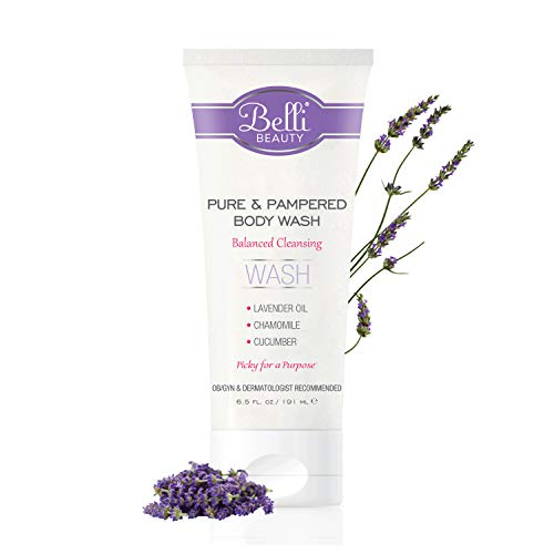 Belli Pure and Pampered Body Wash - Balanced Cleansing with Essential Oil of Lavender - OB/GYN and Dermatologist Recommended - 6.5 oz.