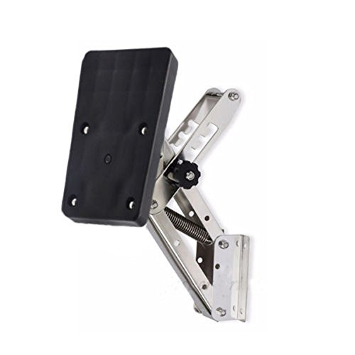 Marine Stainless Steel Auxiliary Outboard Motor Bracket FOR 2-STROKE MOTORS - Up To 25hp (Stainless Steel - Black)