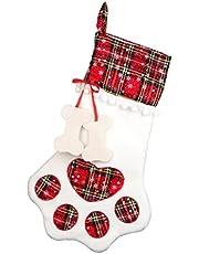 Boże Narodzenie Pet Paw Wzór Pończochy Tkaniny Kominek Wiszący Skarpety Xmas Home Decor Christmas Stockings & Holders