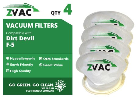 ZVac 4 Dirt Devil Style F5 Scorpion Hand Vac Filter - 4 pack - 3DEA950001 - Made