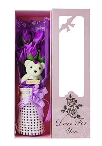Adabele Gifts I Love You Purple Flower Bouquet Scented Soap Roses with Cute Teddy Bear Long Lasting Women Girls Anniversary Birthday Mother's Day Valentine's Gift sf503a