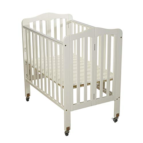 Big Oshi Angela Portable, Folding Baby Crib Frame on Wheels - Adjustable Mattress Height, Low to High - Modern, Unisex Wood Design for Boys or Girls - Sturdy, Lightweight, Side Crib, White ()