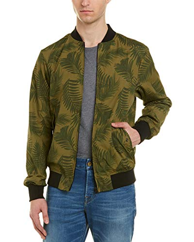 Scotch & Soda Men's Chic Bomber Jacket with All-Over Leaf Pattern, Army, L