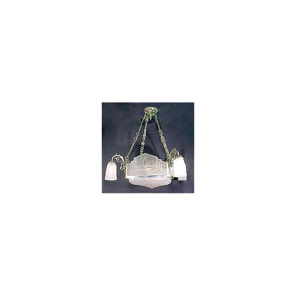 Antique French Art Nouveau Glass Chandelier Signed