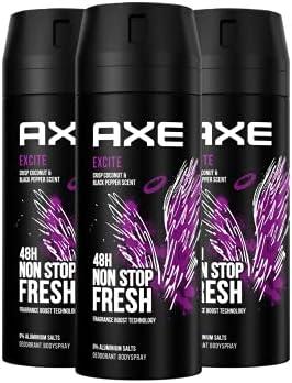 Axe bodyspray voor een langdurige geur Excite zonder aluminiumzouten verpakking van 3 stuks 3 x 150 ml