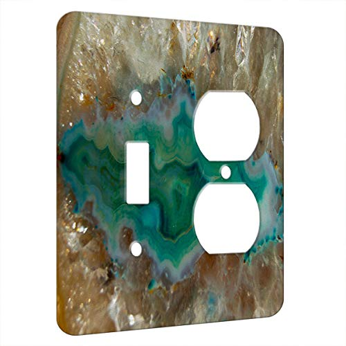 Agate Crystal Turquoise - Decor Switch Plate Cover Metal (2 Gang 1 Toggle 1 Duplex Outlet)