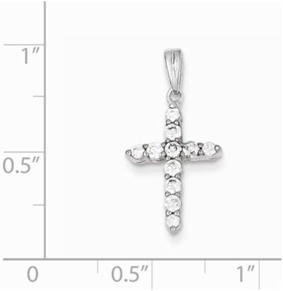 .925 Sterling Silver Childrens CZ Cross Charm Pendant