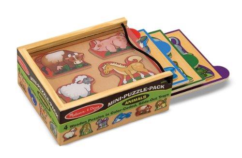 UPC 000772047906, Melissa & Doug Animals Wooden Mini-Puzzle Set With Storage and Travel Case
