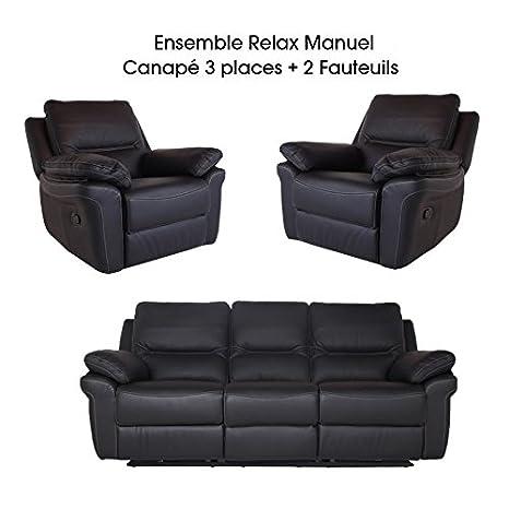 Sofá de 3 plazas, 2 pies, BIBI-Set de Relax manual piel ...