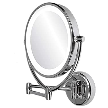 Ovente MLW45CH LED Lighted Wall Mount Vanity Mirror, 9.5 inch, 1x/10 Magnification, Chrome