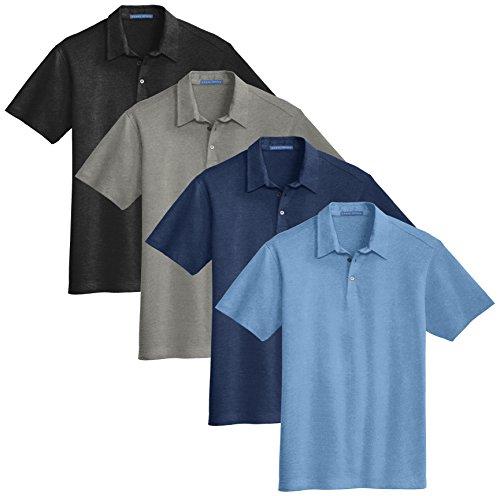 KAMAL OHAVA Men's Meridian Cotton Blend Polo (Pack of 4), Short Sleeve, X-Large