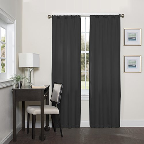Eclipse 16205037084BLK Darrell 37-Inch by 84-Inch Thermaweave Room Darkening Single Window Curtain Panel, ()