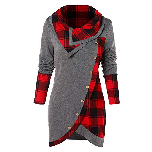 FORUU Women's Cowl Neck Plaid Drawstring Button Hoodie Sweatshirt Tunic Dress ()