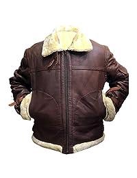 Men's Aviator RAF B3 Sheepskin Fur Shearling Bomber Flying Brown Leather Jacket