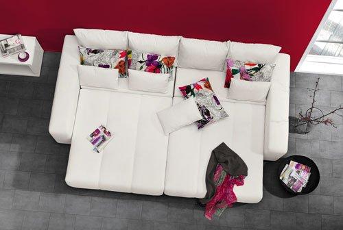 Big Sofa In Schwarz Mit Geteilter Sitz Liegeflache Schlaffunktion