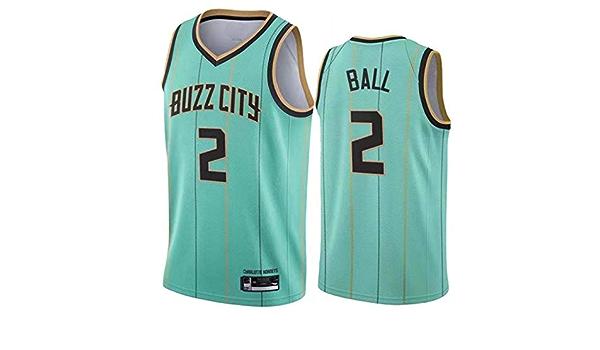 Charlotte Hornets 2021 Nueva Sudadera Bordada para Aficionados Camiseta Sin Mangas con Chaleco Deportivo Transpir XGMJ LaMelo Ball #2 Camiseta De Baloncesto para Hombre