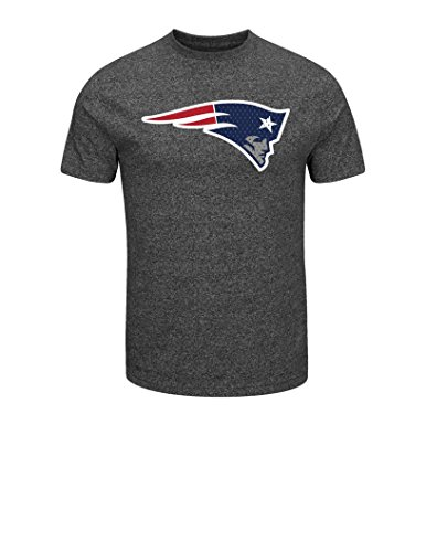 NFL New England Patriots Men's Victory Gear VII Short Sleeve Crew Neck Tee, Large, Black Marled