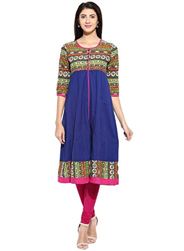 Evam Royal Blue Placement Print Cotton-Cambric Long Kurta, Medium, Royal (Placement Print)