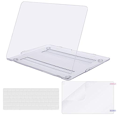 MOSISO Plastic Hard Case & Keyboard Cover & Screen Protector Only Compatible MacBook Air 13 Inch (Models: A1369 & A1466, Older Version 2010-2017 Release), Crystal Clear