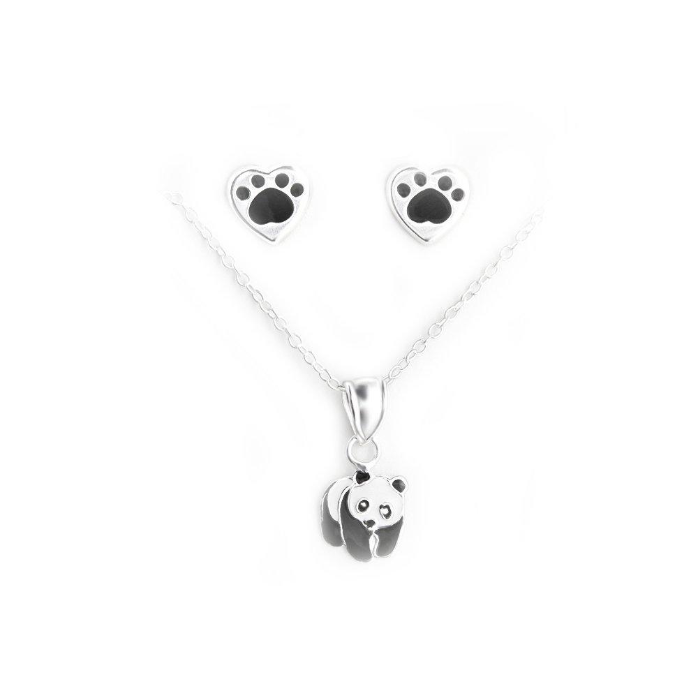 /Panda Tata Gisele/© Bettw/äsche Kinder Halskette und Ohrringe Sterling Silber 925//000/und Epoxidharz/