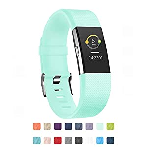 POY Replacement Bands Compatible for Fitbit Charge 2, Adjustable Sport Wristbands, Large Turquoise 1PC