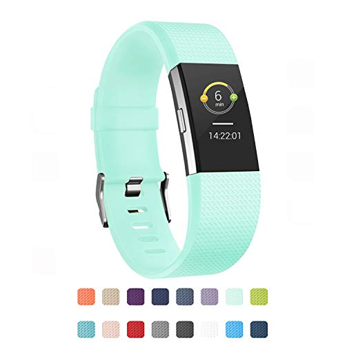 POY Replacement Bands Compatible for Fitbit Charge 2, Classic & Special Edition Adjustable Sport Wristbands (Teal, Large)