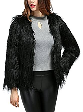 Dikoaina Women's Solid Color Shaggy Faux Fur Coat Jacket (US6, Black)