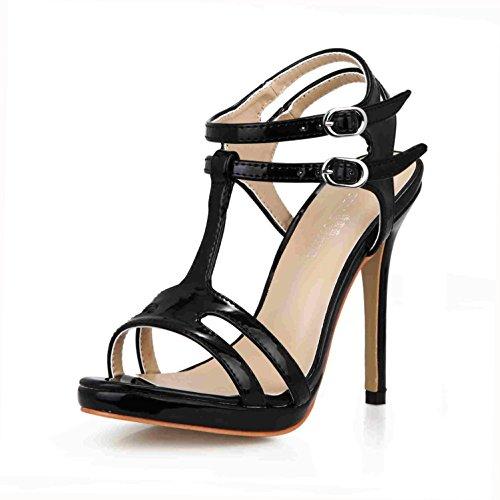 Best 4U® Sandalias de verano de mujer Bombas de cuero de patente Peep toe 12CM Tacones altos Slingbacks Zapatos de goma de la suela de la boda , Black , EU39