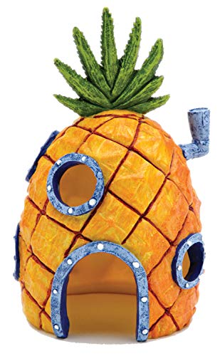 Spongebob Bikini Bottom - Nickelodeon's SpongeBob SquarePants Small 6 Inch Pineapple House Aquarium Ornament from Penn Plax - Durable Resin Safe for All Fish - SBR10
