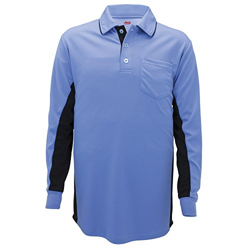 Adams USA MLB Style Long Sleeve Baseball Umpire Shirt - Sized for Chest Protector, Seattle Blue, Small