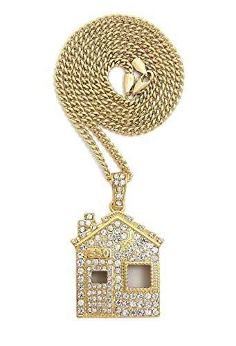 Shiny Jewelers USA Mens ICED Out Offset Trap House Hip HOP Pendant Box, Rope Cuban Chain Necklace (Cuban Chain - Chain Offset