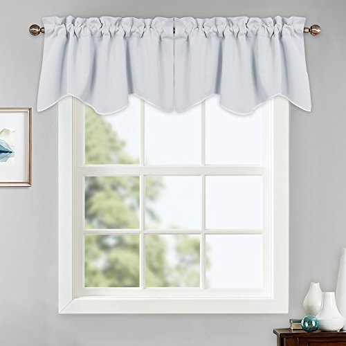 (PONY DANCE White Window Valances - Short Curtain Small Tiers Rod Pocket Light Block Home Decor Cafe Curtain Scalloped Valance for Kitchen, 42-inch by 18-inch, Greyish White, 2 Pieces)