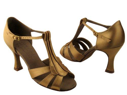 Scarpe Da Ballo Da Donna Per Danza Latina Salsa Tango Signature S2806 Tan Satinato 2.5