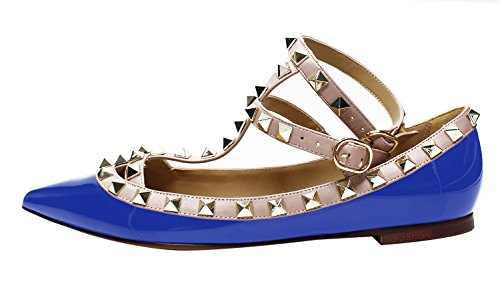 Guoar Womens Sexy Rivets Stud Buckle Two-Straps Shallow Mouth Pointed Toe Flat Pump Shoes Royalblue Patent Leather ldTztRQWy