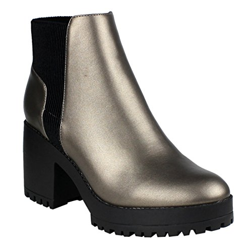 Beston Pleated Pewter EI56 Chunky Booties Zipper Heel Ankle Lug Inner Womens Sole 7F7qx1wr