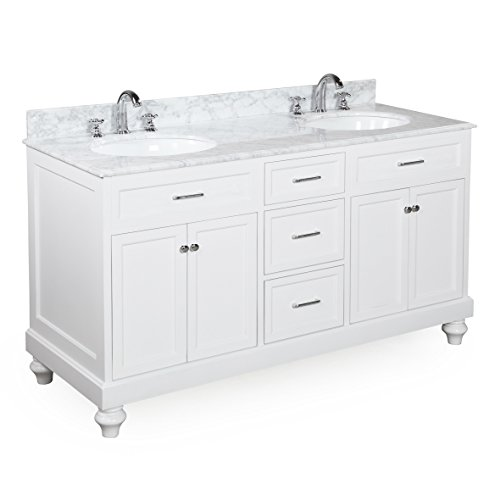 80%OFF Kitchen Bath Collection KBC111WTCARR Amelia Double Sink Bathroom Vanity with Marble Countertop, Cabinet with Soft Close Function and Undermount Ceramic Sink, Carrara/White, 60""
