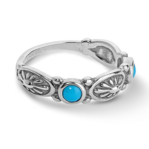 (American West Sterling Silver Blue Turquoise Gemstone Concho Design Band Ring Size 8)