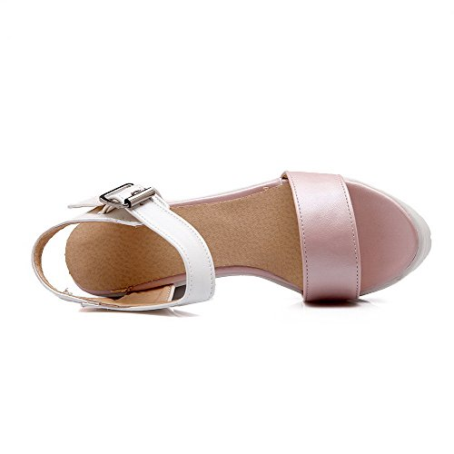 Amoonyfashion Donna Materiale Morbido Open Toe Tacchi Fibbia Sandali Solidi Rosa
