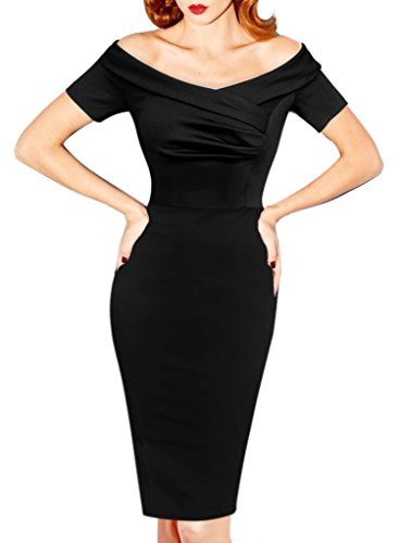 VfEmage Women's Elegant Vintage Ruched Off Shoulder Party Cocktail Wiggle Dress 500 BLK 18