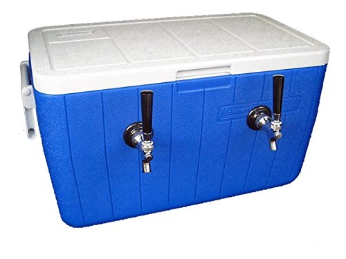 Double Faucet Cooler (Bev Rite CJB48270 70' SS Coil Double Faucet Jockey Box, 48 Quart Cooler (2) (2), 2 Lines, Blue or Red)