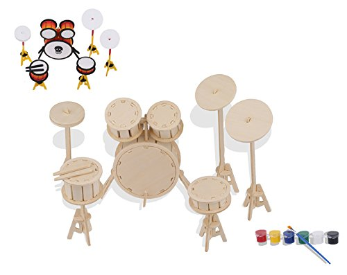 iPuzzle DIY 3D Wooden Puzzle Instrument Model Includeds Painting Tool Kits For Kids (drum) (Logo Board Tech Cutting)