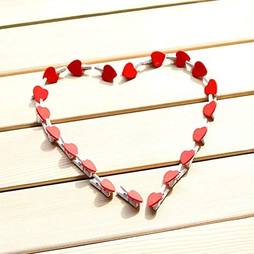 50 pcs/Lot Wooden Paper Clips Red Heart for foto Memo Clamp Wedding Chalkboard Blackboard Office Material Supplies