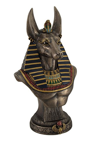 Resin Statues Ancient Egyptian Jackal God Anubis Bronze Finished Bust Statue 5 X 9.5 X 4.5 Inches (Egyptian Jackal Statue)