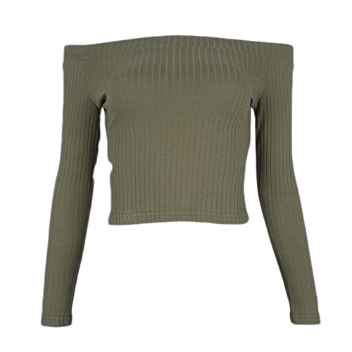 0fd013b5cdf Gobought Womens Slim Off Shoulder Long Sleeve Rib-Knit Crop Pullover Tops
