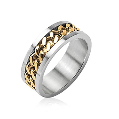 Stainless Steel Two Tone Ring - BodyJ4You Ring Chain Center Two Tone Stainless Steel Ring Cuban Link Chain Center - Size 12