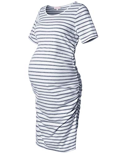 Maternity Dress,Bodycon Maternity Clothes for Women,Casual Short Sleeve Ruched Sides,Grey and White Stripe M