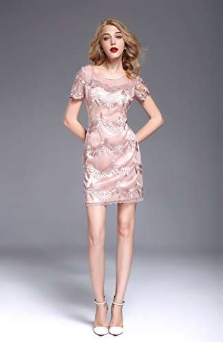 Women Cocktail Gowns Sleeve Shout s Neck Pink Evening Scoop Short Dress Fit Slim cotyledon EqdwgFE