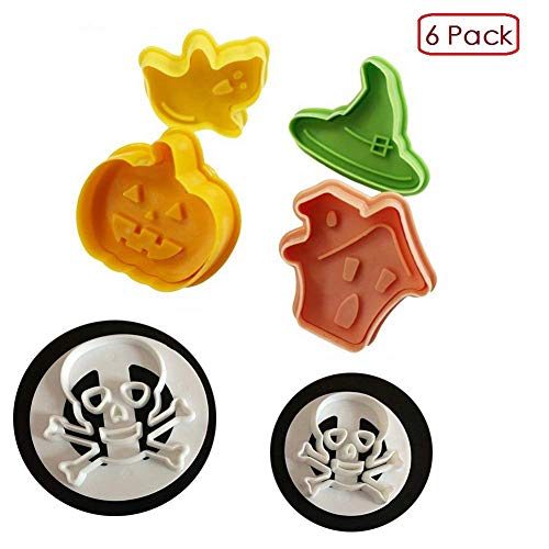 (Set of 6)The Easiest Halloween Cookie Cutter Set,Skull & Crossbones,Pumpkin,Spirit Cookie Cutter Mold,CupCake Decorating Gumpaste Fondant Mould