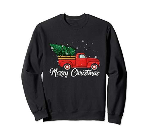 Red Truck Pick Up Christmas Tree Vintage Retro Sweater Sweatshirt (Jumper Ladies Retro Christmas)
